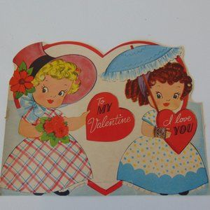 1950's Vintage Valentine - Two Young Ladies